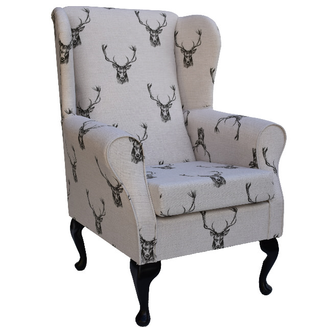 Designer Charcoal Stags On Cream Beige Fabric Wing Back Fireside Chair New Ebay