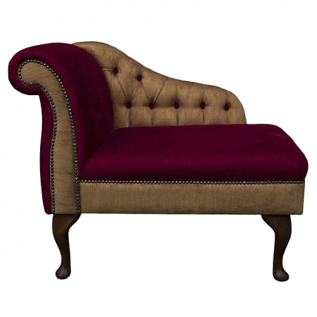 "36"" Buttoned Dual Fabric Compact Chaise in a Blaze & Bronze Fabric with studding & Dark Queen Anne Hardwood Legs"