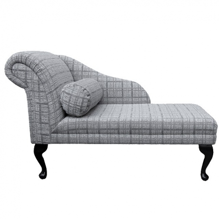 "45"" Chaise Longue in a Maida Vale Plaid Grey Fabric - 14675"