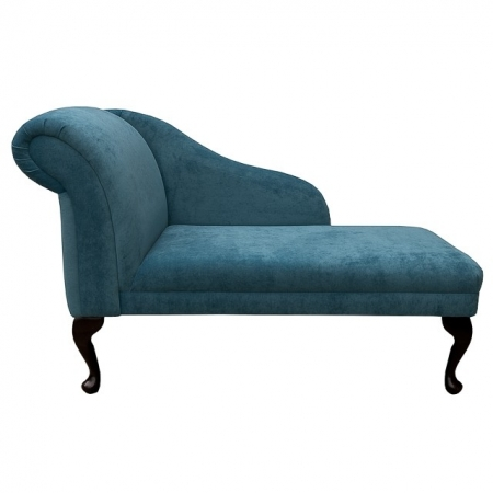 "45"" Chaise Longue in a Teal Danza Chenille Fabric - DAN821"
