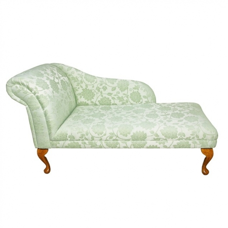 "52"" Classic Style Chaise Longue in a Floral Green Fabric - 17073"