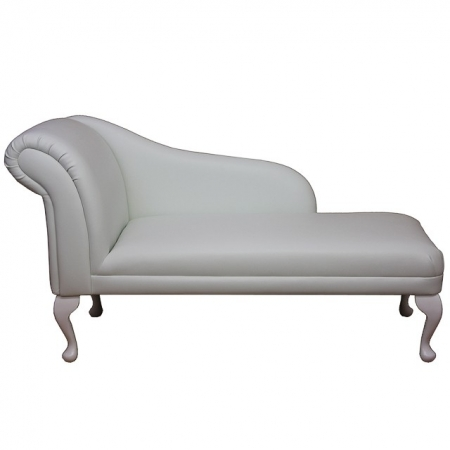 "52"" Classic Style Chaise Longue in a Frozen White Faux Leather"