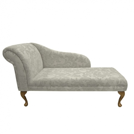 "52"" Classic Style Chaise Longue in a Pale Cream Fortuna Floral Fabric - FORT102"
