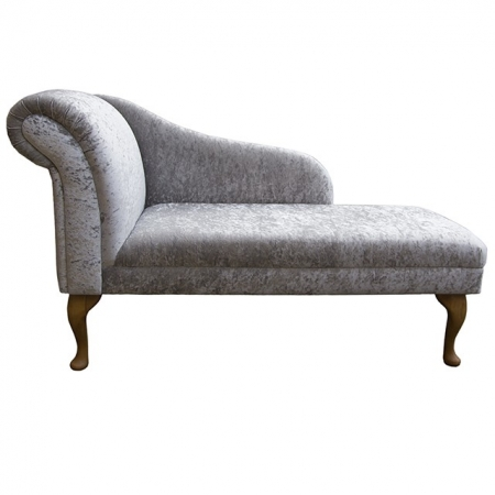 "52"" Classic Style Chaise Longue in a Silver Senso Crushed Velvet Fabric with Hardwood Legs - SENS1161"