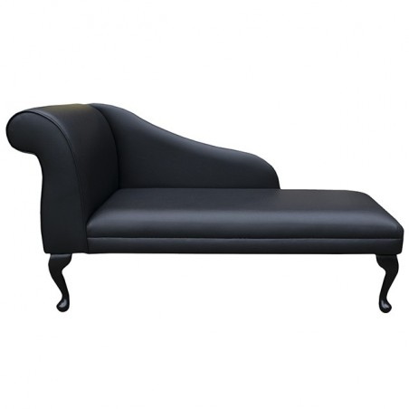 "52"" New Style Chaise Longue in a Black Faux Leather"
