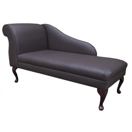 "52"" New Style Chaise Longue in a Madras Mocha Genuine Leather"
