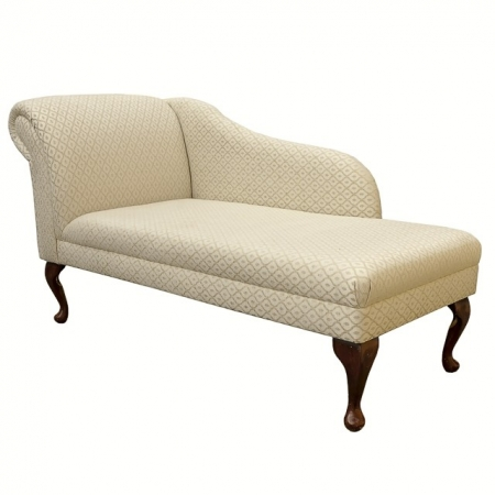 """56"""" Classic Style Chaise Longue in a Woburn Gold Trellis Fabric - 17080"""