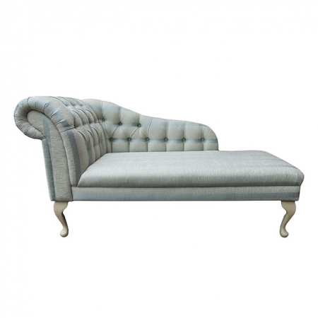 "56"" Buttoned Classic Style Chaise Longue in a Conway Stripe Wedgewood Fabric - 13114"