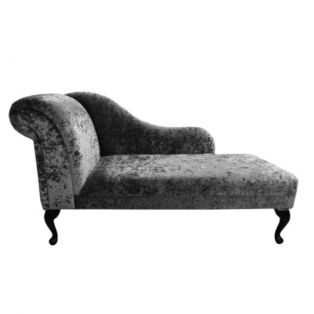 "60"" Classic Style Chaise Longue in a Pewter / Grey / Silver Crushed Velvet Chenille - SENS1184"