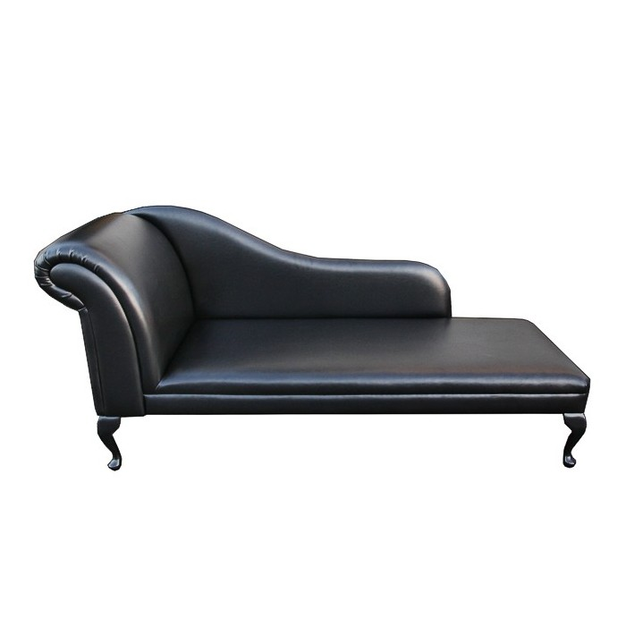 "70"" Classic Style Chaise Longue in Black Faux Leather"