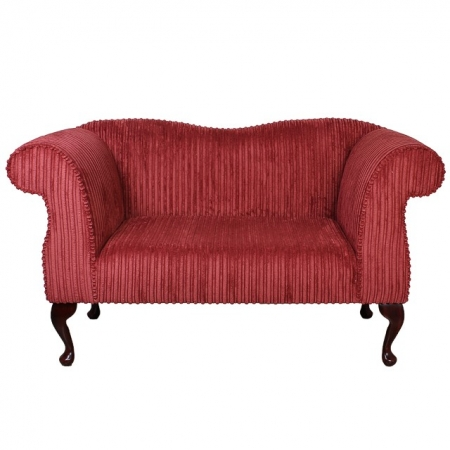 Small Chaise Sofa in a Copper Jumbo Cord Luxury Velvet Fabric - 16110