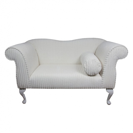 Small Chaise Sofa in a Jumbo Chalk Cord Luxury Velvet Fabric - 16115