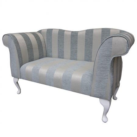 Small Chaise Sofa in a Woburn Blue Stripe Fabric - 17061