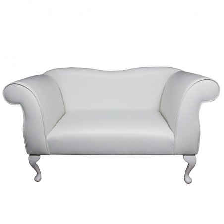 Small Chaise Sofa in a White Faux Leather Fabric