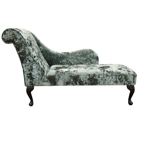 "54"" Monaco Chaise Longue in an Aqua Green Lustro Crushed Chenille Fabric - LUS1319"