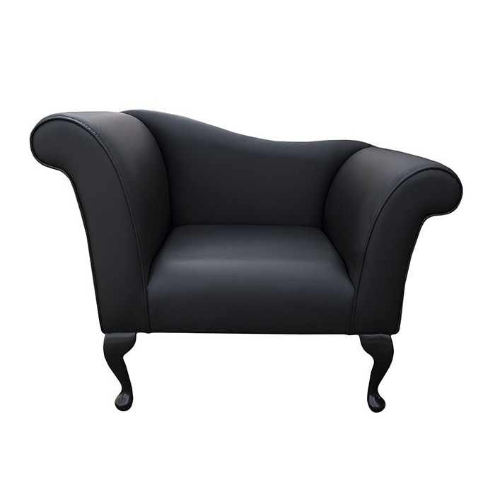 Designer Chaise Chair in a Black Faux Leather