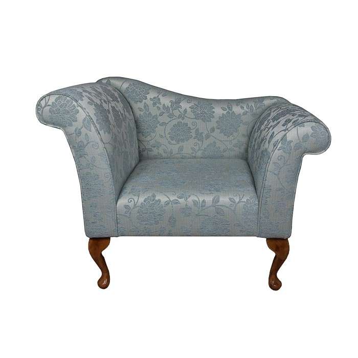 Designer Chaise Chair in a Floral Blue Fabric - 17071