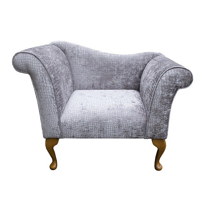 Designer Chaise Chair in a Silver Pebble Chenille Fabric - DUN302
