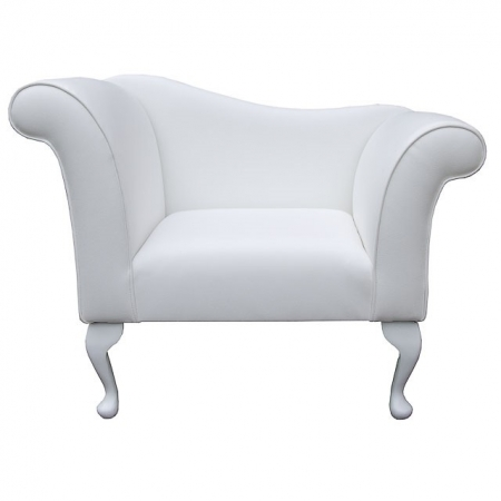 Designer Chaise Chair in a White Faux Leather - ULT1210