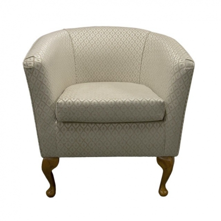 Designer Tub Chair in a Beige Trellis Fabric - 17082