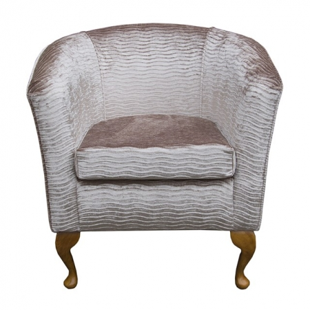 Tub Chair in a Camel Rippled Chenille Fantasia Fabric - Fant101