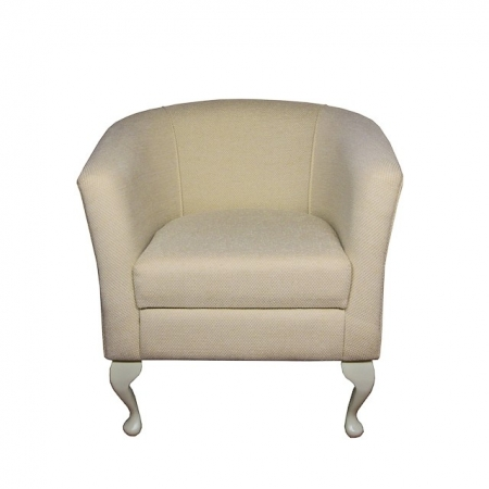 Designer Tub Chair in a Dobby Cream Fabric - 13771