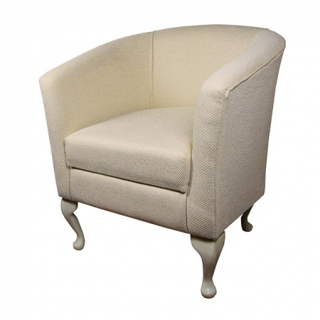 Designer Tub Chair in a Dobby Cream Fabric - 13771
