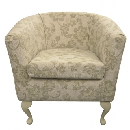 Designer Tub Chair in a Floral Oatmeal Fabric - 16652