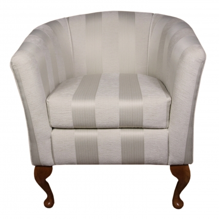 Designer Tub Chair in a Stripe Oyster Fabric - 17064