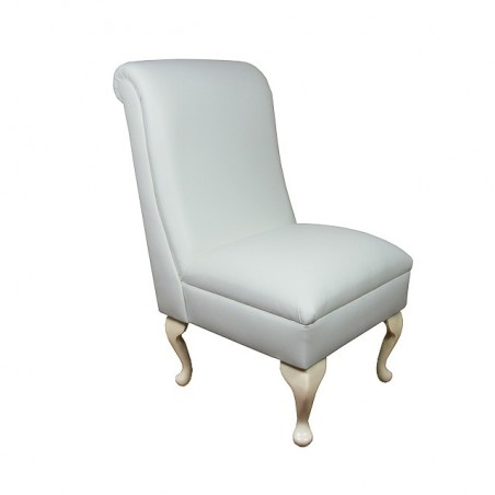 Bedroom Chair in a Medal White Genuine Leather