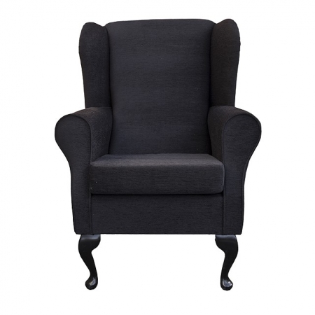 Westoe Wingback Fireside Chair in a Monaco Crush Noir (Black) Fabric - 16065