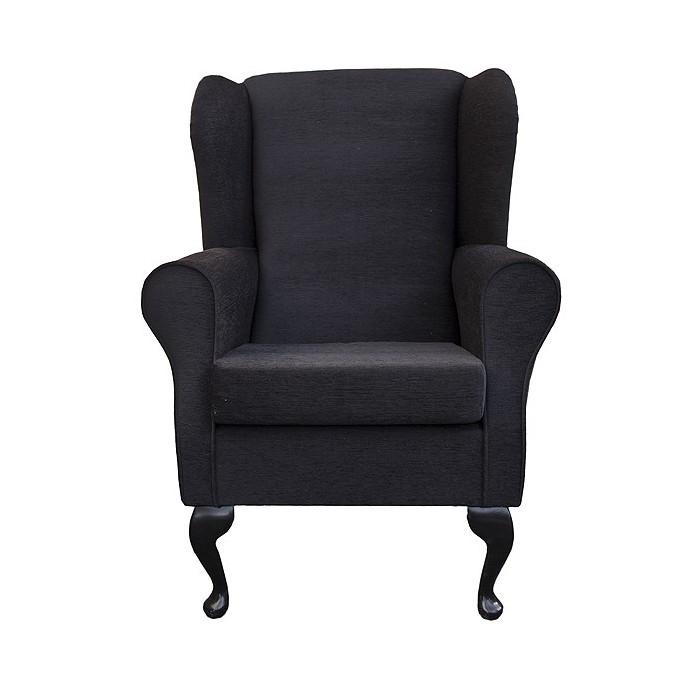 Westoe Wingback Fireside Chair in a Monaco Crush Noir (Black) Fabric - 16065