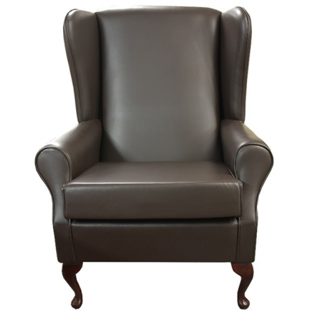Large High Wingback Fireside Chair in a Genuine Brown Leather