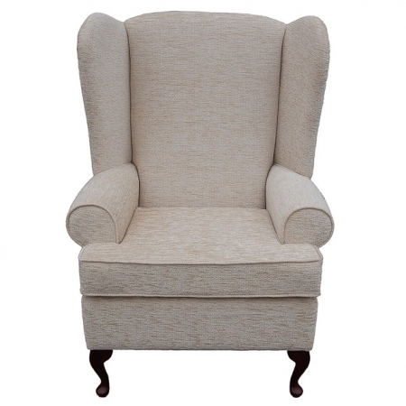 Large High Wingback Fireside Chair in a Plush Wheat Fabric - 15901