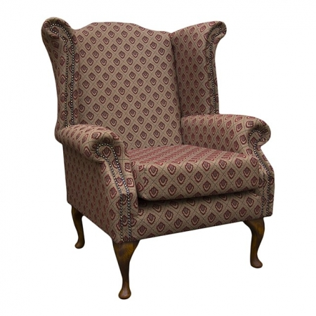 Armchair in a Regalo Red and chocolate Brown Diamond fabric - REG1350