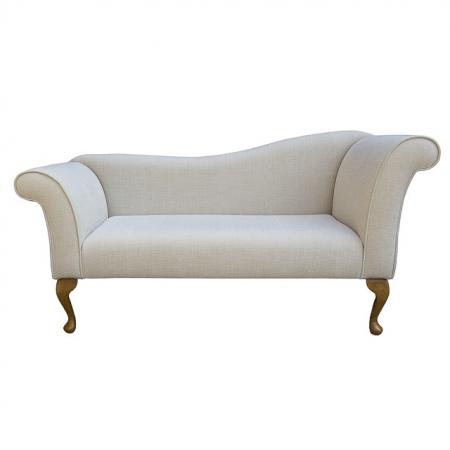 Designer Chaise Sofa in a Slub Natural Fabric - 13750 (Standard Size)