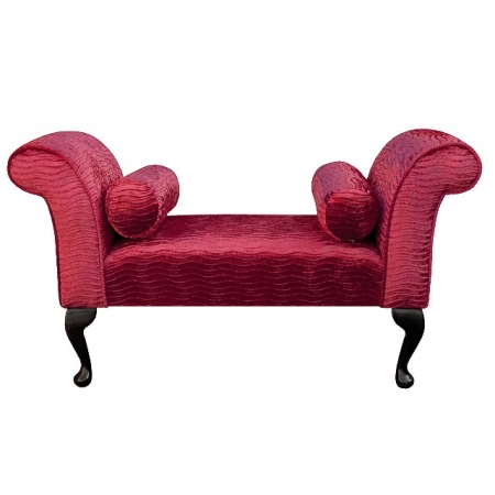 Standard Settle in a Red Rippled Fantasia Chenille Fabric - Fant103