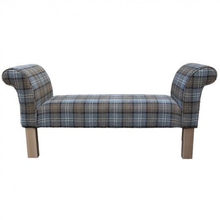 Medium Settle in a Blue Lana Tartan Fabric with Light Hardwood Legs - Lana1256