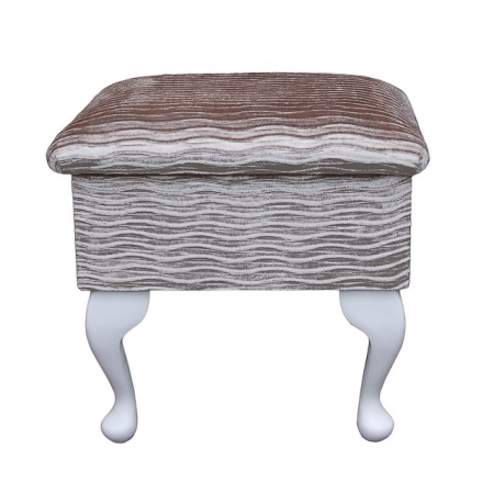 Small Dressing Table Stool in a Camel Rippled Chenille Fantasia Fabric - FANT101