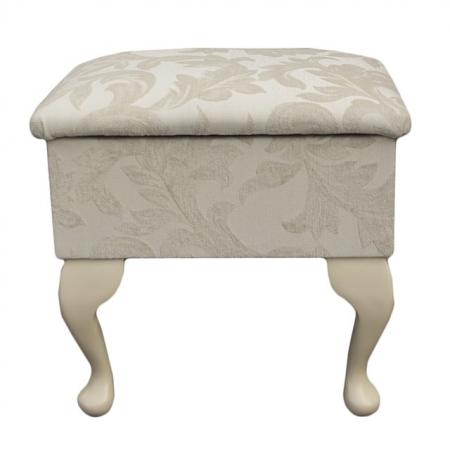 Small Dressing Table Stool in a Pale Cream Fortuna Floral Fabric - FORT102