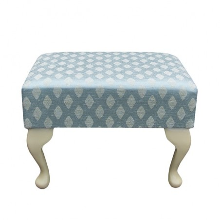 Small Footstool in a Conway Diamond Wedgewood Fabric - 13134