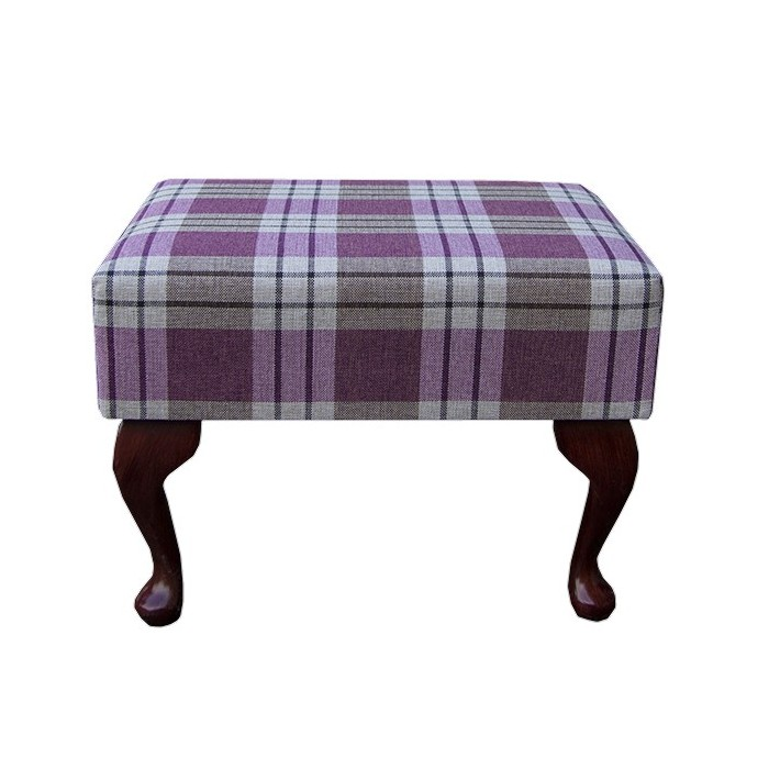 Small Footstool in a Kintyre Heather Tartan Fabric