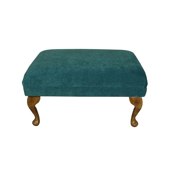 Small Footstool in a Petrol Green Pimlico Fabric - 16010