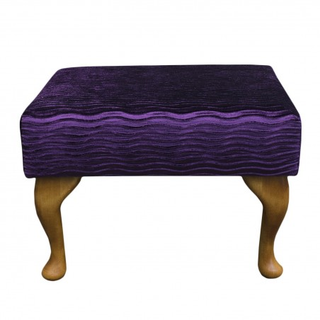 Small Footstool in a Purple Fantasia Fabric with hardwood legs - FANT108