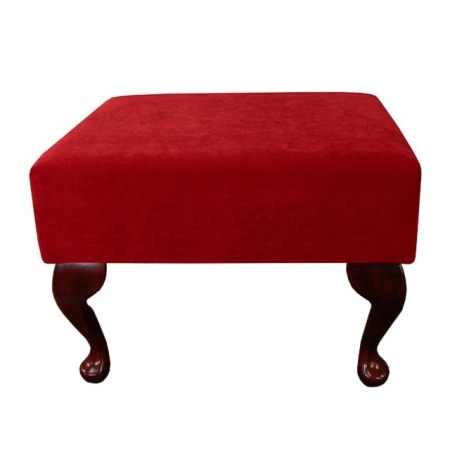 Small Footstool in a Rouge / Red Pimlico Velvet Fabric - 16022