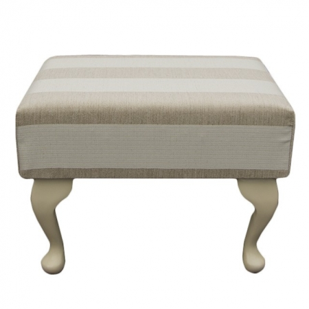 Small Footstool in a Woburn Beige Stripe Fabric - 17062