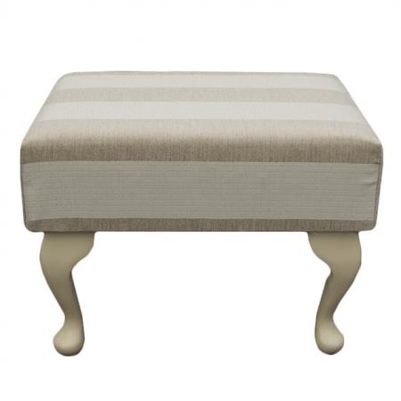 Small Footstool in a Woburn Beige Stripe Fabric - 17062