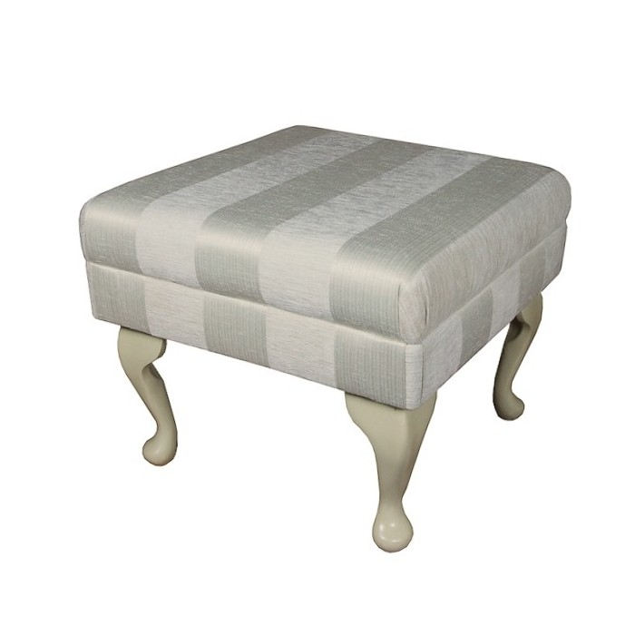 Small Footstool in a Woburn Oyster Stripe Fabric - 17064