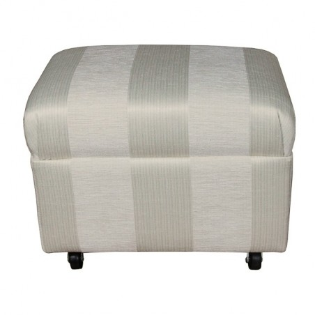 Small Footstool in a Woburn Oyster Stripe Fabric on Castors - 17064