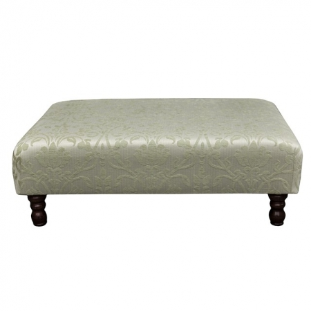 Large Footstool in a Medallion Green Fabric - 17053
